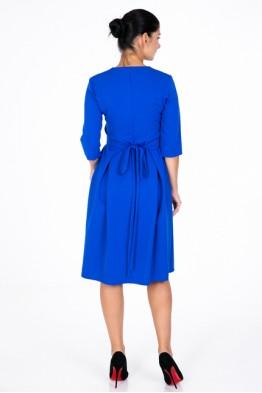 Blue dress with a wide belt