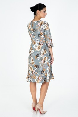 Gray dress with roses