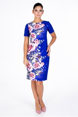 Blue dress with roses